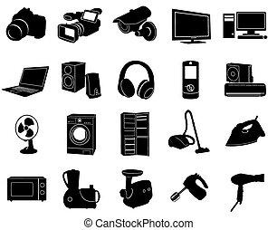 maison, noir, appareils, icônes