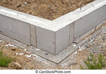 maison, nouveau, construction, base, fondation
