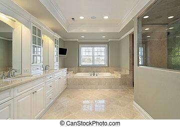 maison, nouveau, construction, maître, bain