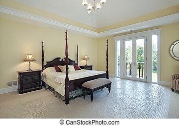 maison, nouveau, construction, maître, chambre à coucher