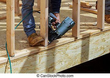 maison, nouveau, faisceau, construction, encadré