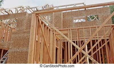 maison, nouveau, faisceau, construction, encadrement, sous, maison