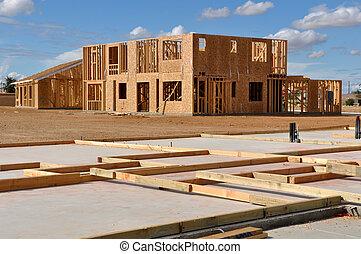 maison, nouveau, premier plan, fondation