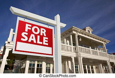 maison, nouveau, signe, vente, &