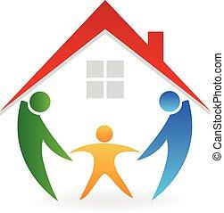 maison, nouvelle famille, logo