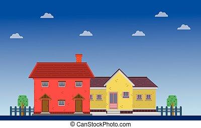 maison, nuage, paysage