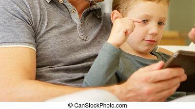 maison, numérique, utilisation, sofa, père, tablette, fils, 4k