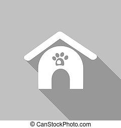 maison, ombre, chien, long, icône