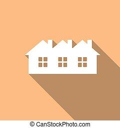maison, ombre, long, icône