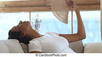 maison, onduler, souffrance, femme, africaine, surchauffe,...