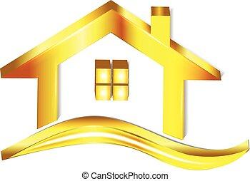 maison, or, logo
