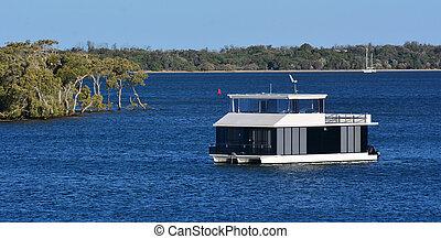 maison, or, queensland, bateau, côte, australie