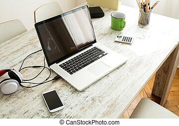 maison, ordinateur portable, bureau