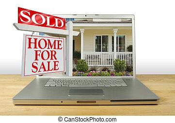 maison, ordinateur portable, signe vente