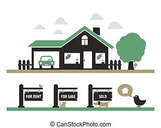 maison, ou, loyer, vente