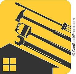 maison, outillage, symbole, réparation