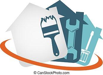 maison, outillage, vecteur, réparation