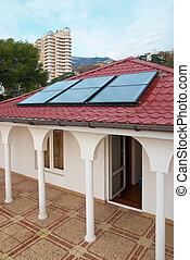 maison, panneau, (geliosystem), solaire, roof.