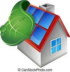 maison, panneaux, feuille, vert, solaire