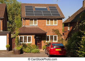 maison, panneaux, solaire