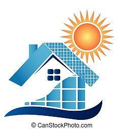 maison, panneaux, solaire, logo