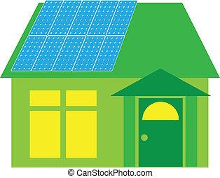 maison, panneaux, vert, solaire, illustration
