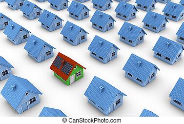 maison, panneaux, vert, solaire, une