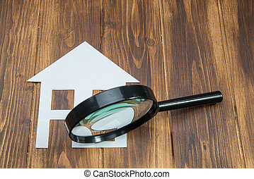 maison, papier, verre, chasse, magnifier
