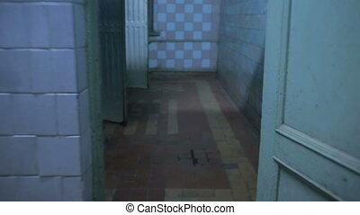 maison, par, courant, démoli, toilettes