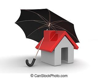 maison, parapluie