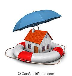 maison, parapluie, ceinture de sauvetage