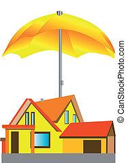 maison, parapluie, sous