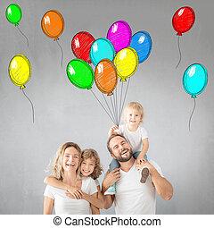 maison, parents, enfants, amusant