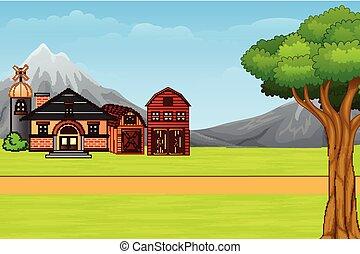 maison, pays, dessin animé, paysage, nature