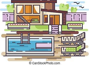 maison, pays, piscine, natation