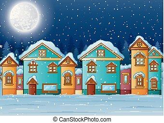 maison, paysage hiver, nuit