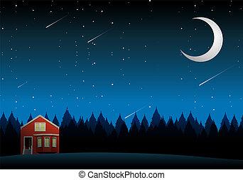 maison, paysage rural, nuit