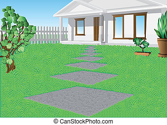 maison, pelouse, blanc vert