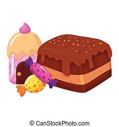 maison, petit gâteau, bonbons, chocolat, lutin