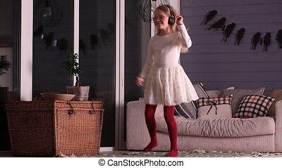 maison, peu, écouteurs, girl, danse