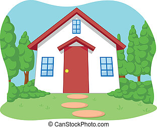 maison, peu, dessin animé, mignon