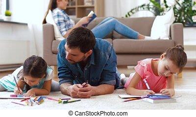 maison, peu, père, dessin, filles