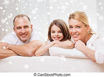 maison, peu,  parents, Sourire,  girl
