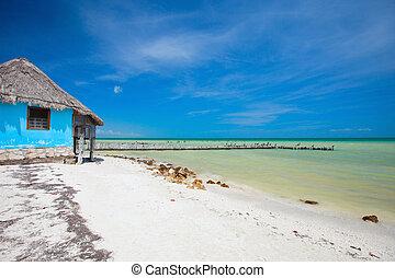 maison, peu, plage, coloré