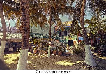 maison, peu, plage, mexicain, coloré