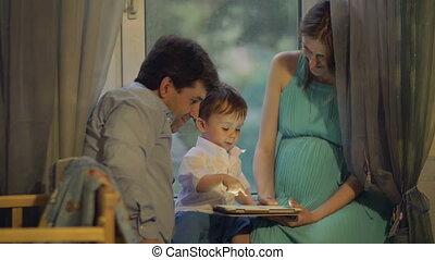 maison, peu, tampon, parents, enfant