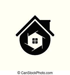 maison, photographie, modern., gabarit, logo, soutien, icône