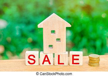 """maison, pièces, vrai, housing., vente, propriété, bois, inscription, pile, estate., affordable, maison, """"sale""""."""