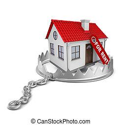 maison, piège, ours, loyer