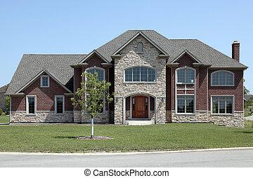 maison, pierre, construction, brique, nouveau